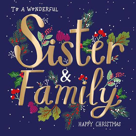 SISTER AND FAMILY CHRISTMAS CARD
