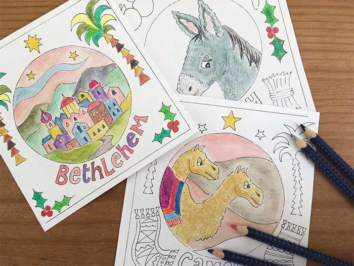 HANNAH DUNNETT COLOURING CHRISTMAS CARDS