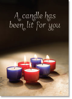 A CANDLE HAS BEEN LIT FOR YOU CARD