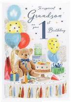 GRANDSON 1ST BIRTHDAY CARD