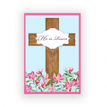 HE IS RISEN WOODEN CROSS PACK OF 4