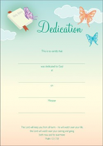 DEDICATION CERTIFICATES PACK OF 10 BUTTERFLY