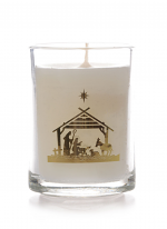 GLASS CANDLE NATIVITY DESIGN