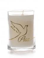 GLASS CANDLE PEACE DESIGN