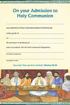 CAHC CERTIFICATE OF ADMISSION TO HOLY COMMUNION PACK OF 10