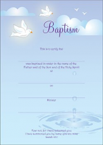 BAPTISM CERTIFICATE ADULT PACK OF 10